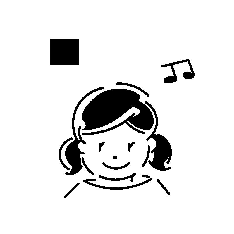 女の子と音符